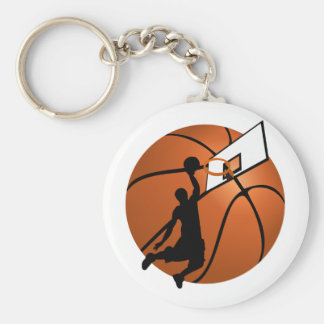 Slam Dunk Basketball Player w/Hoop on Ball Key Chain