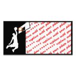 Slam Dunk Basketball Player - White Silhouette Custom Photo Card