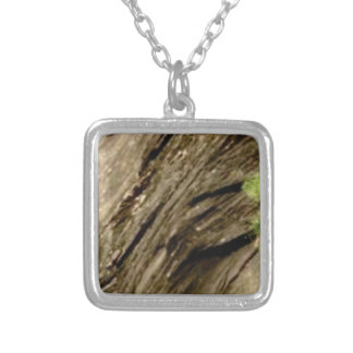 slant shadow stone silver plated necklace