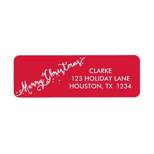 Slanted Hand Lettered Merry Christmas Holiday Return Address Label