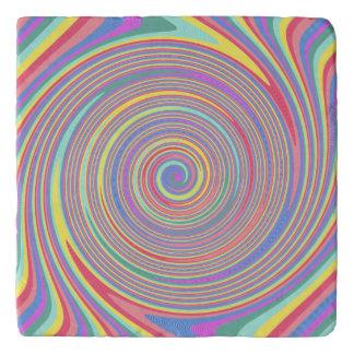 Slanted Lines Color Swirl Stone Trivet