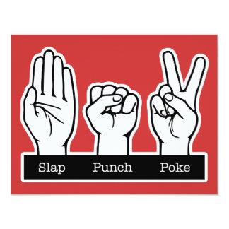"""Slap, Punch, Poke 4.25"""" X 5.5"""" Invitation Card"""