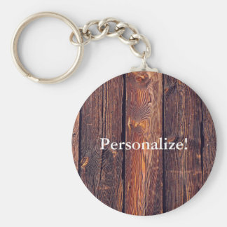 Slat Pattern Wood Planks Basic Round Button Keychain