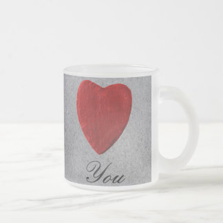 Slate background Love you Frosted Glass Coffee Mug