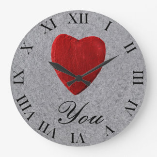 Slate background Love you Wallclock