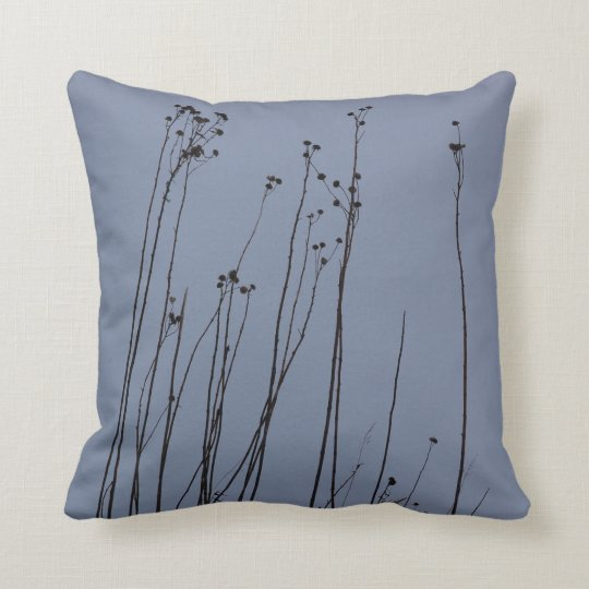Slate Blue Accent Pillow with Dark Brown Accents
