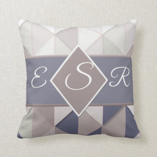 Slate blue and beige geometric wedding throw pillow
