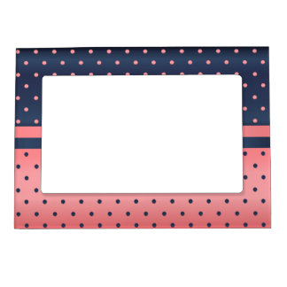 Slate Blue and Coral Polka Dots Magnetic Picture Frame