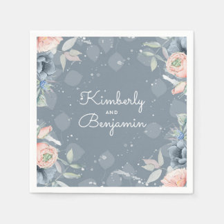 Slate Blue and Dusty Rose Floral Botanical Paper Napkins