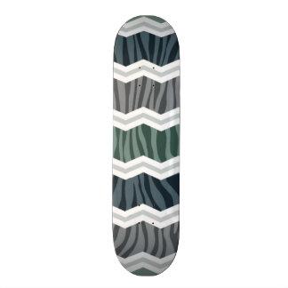 Slate Blue and Gray Zebra Print Chevron Stripes Skate Board Decks