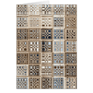 Slate Blue Brown Sari Mosaic Pattern Art Card