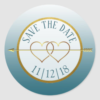 Slate Blue & Gold Gradient  Save the Date Stickers