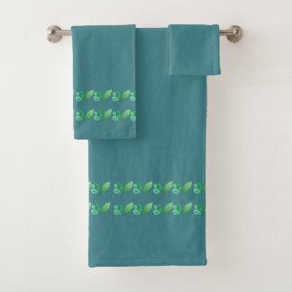 Slate Blue or Steel Blue with Foliage Decoration Bath Towel Set