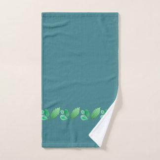 Slate Blue or Steel Blue with Foliage Decoration Hand Towel