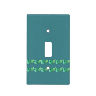 Slate Blue or Steel Blue with Foliage Decoration Light Switch Cover