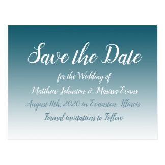 Slate Blue  Personalized Save the Date Postcard