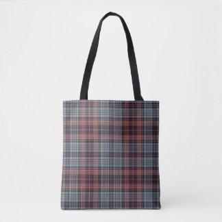 Slate Blue Red Pink Tartan Plaid Tote Bag