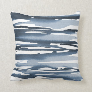 Slate Blue Watercolor Abstract Stripes Throw Pillow