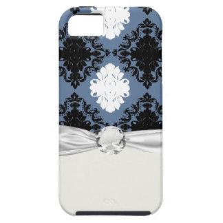 slate blue white black diamond damask iPhone 5 case