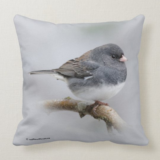Slate-Coloured Dark-Eyed Junco on the Pear Tree Throw Pillow