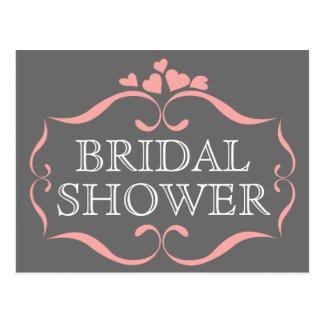 Slate Gray Bridal Shower Pink Hearts Invitation Postcard