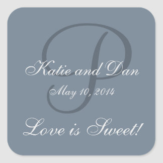 Slate Gray Life is Sweet Monogrammed Wedding Square Sticker