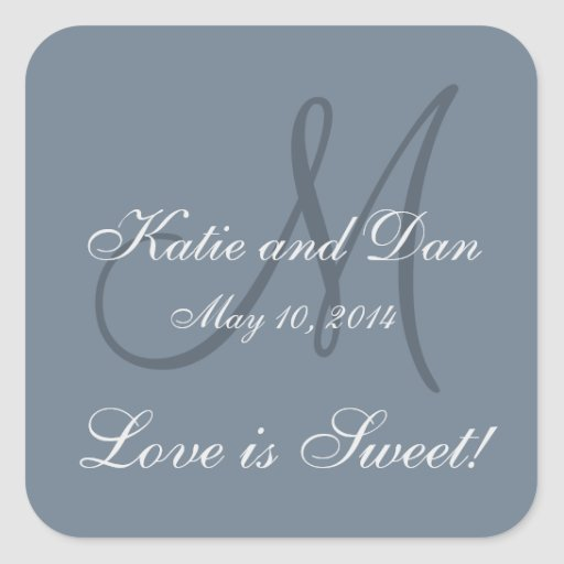 Slate Gray Life is Sweet Monogrammed Wedding Stickers