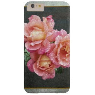 Slate Gray & Pale Pink Roses Barely There iPhone 6 Plus Case