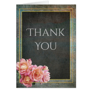 Slate Gray & Pale Pink Roses Thank You Card