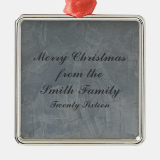 Slate Grey Venetian Plaster Christmas Silver-Colored Square Ornament
