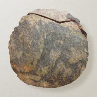 Slate Rock Stone Round Pillow