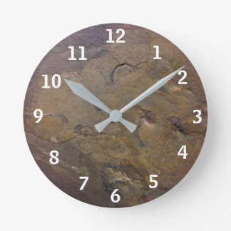 Slate with white numbers round clock