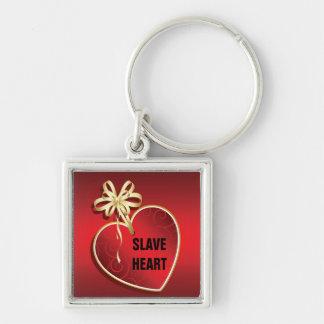SLAVE HEART Silver-Colored SQUARE KEYCHAIN