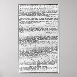 SLAVERY BUSINESS NEWS   1847 POSTER