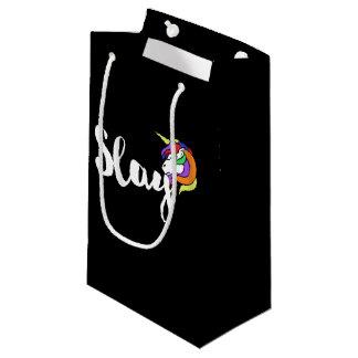 Slay retro rainbow unicorn small gift bag