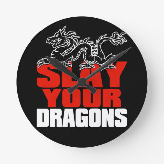 SLAY YOUR DRAGONS, gift for Jordan Peterson fans Round Clock