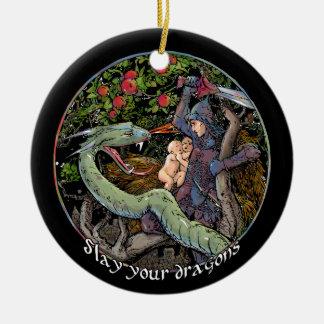 SLAY YOUR DRAGONS, Medieval art,Jordan Peterson Ceramic Ornament