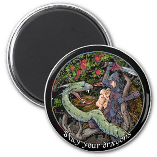 SLAY YOUR DRAGONS, Medieval art,Jordan Peterson Magnet