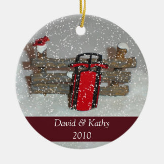 Sled and Fence Christmas Ornament