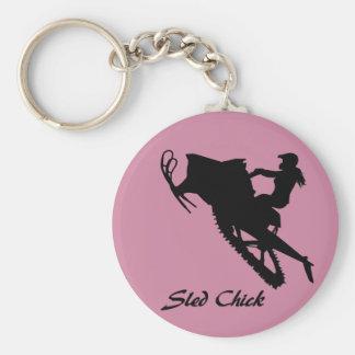 Sled Chick Basic Round Button Keychain