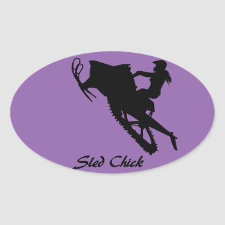 Sled Chick Oval Sticker