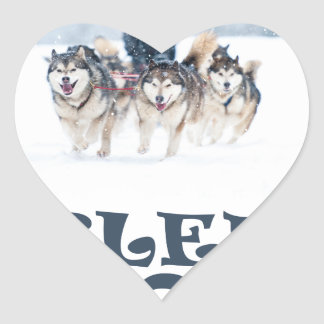 Sled Dog Day - Appreciation Day Heart Sticker