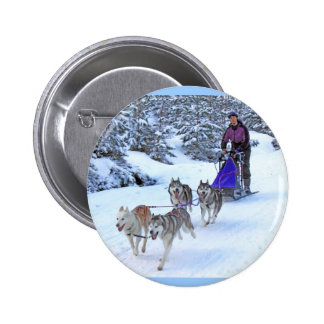 Sled Dog Racing 2 Inch Round Button