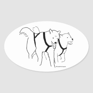 Sled Dogs in Harness Oval Sticker
