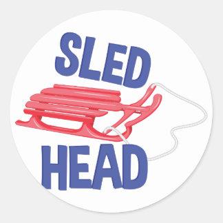 Sled Head Round Sticker