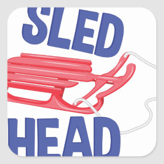 Sled Head Square Sticker