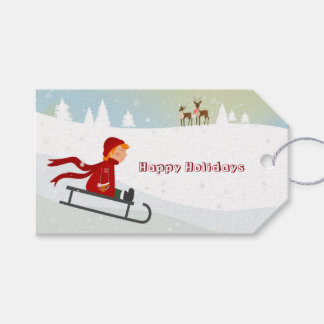Sledding Boy Pack Of Gift Tags