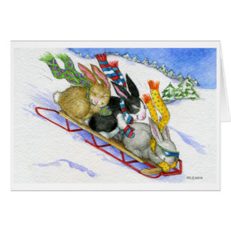 Sledding Bunnies Card