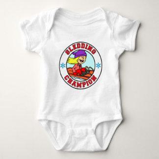 Sledding Champion Cartoon Girl Baby Bodysuit