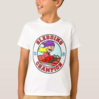 Sledding Champion Cartoon Girl T-Shirt